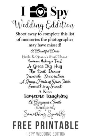 I Spy Wedding Edition Game Free Printable
