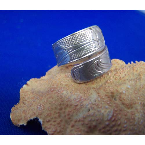 Silver Hummingbird Wrap Ring by Chris Russ