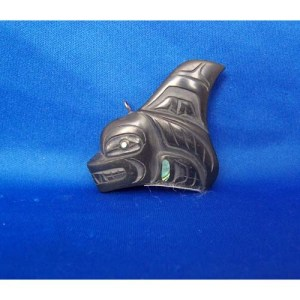 Argillite Killer Whale Sculptured Pendant by Cooper Wilson