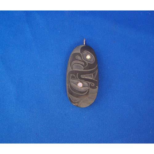Argillite Bear Eagle Pendant by Cooper Wilson