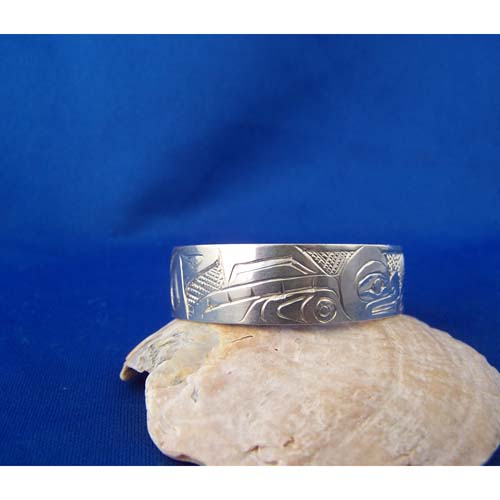 Silver Killer Whale Youth Bracelet by Cooper Wilson