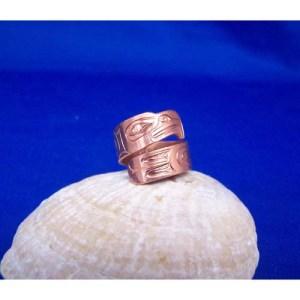 Copper eagle wrap ring by Derek White
