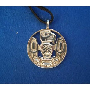 Silver Two Sided Coin Eagle Pendant by Derek White