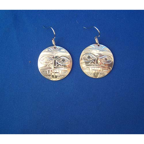 Silver Round Bear Earrings by Derek White