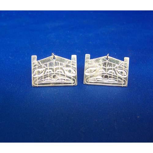 Silver Raven Moon Longhouse Earrings by Derek White