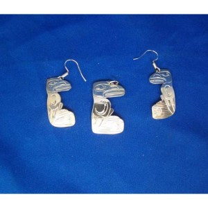 Silver Raven and First People Pendant and Earrings Srt by Derek White