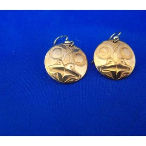 14 K Gold Frog Earrings by Derek White