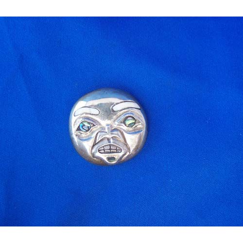 Silver Cast Lady Moon Face Pendant by Fred Wilosn
