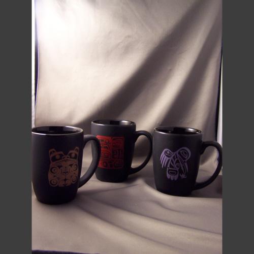 Black porcelain mugs - Haida Arts and Jewellery Masset BC