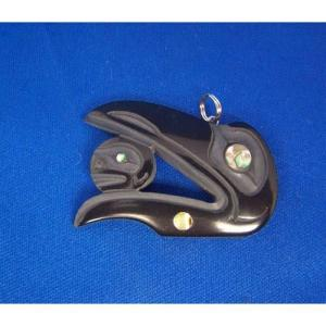 Argillite Raven Head Moon Pendant by Myles Edgars