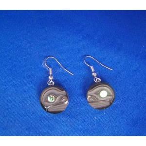 Argillite Side View Full Moon Earrings by Myles Edgars