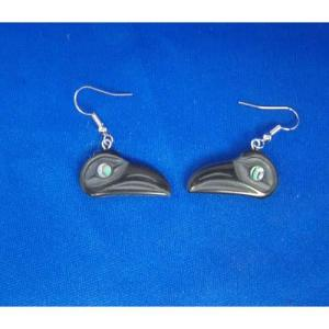 Argillite Raven Earrings by Myles Edgars