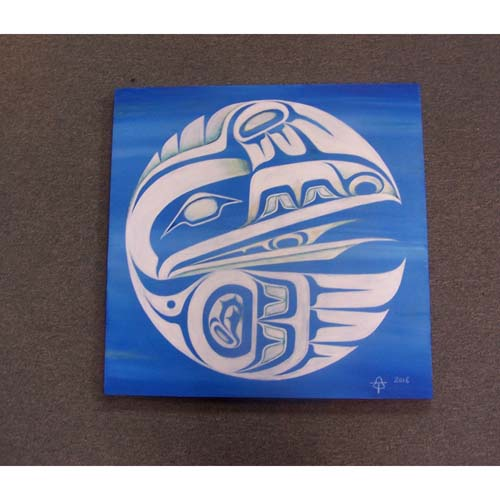 Original Acrylic White Raven Painting by Theodore Bell - Haida Arts and Jewellery Masset BC