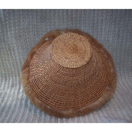 Copper Cedar Bark Fur Trim Hat by Dorcas Bell White