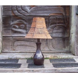Red Cedar Bark Lamp Shade by Brenda Edenshaw
