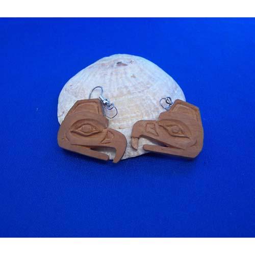 Red Cedar Eagle Earrings by Leon Ridley