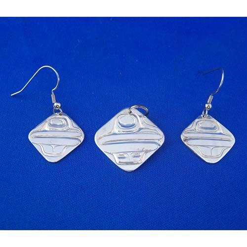 Silver Frog Pendant & Earring Set by David Jones