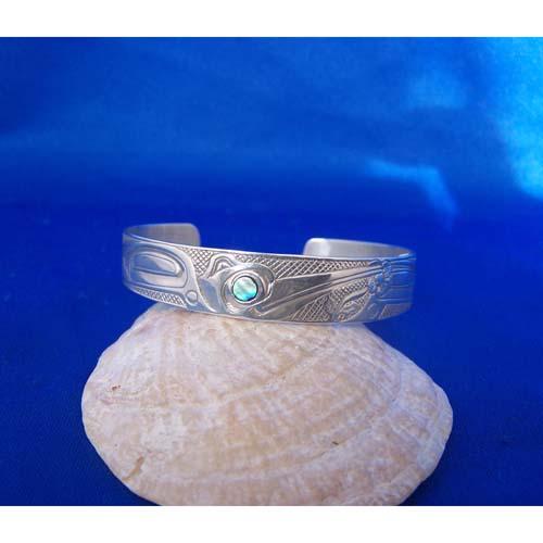 Silver Hummingbird with ablaone eye Bracelet by Carmen Goertzen