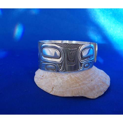 Silver One Inch Oxidized Side View Bear Bracelt by Carmen Goertzen
