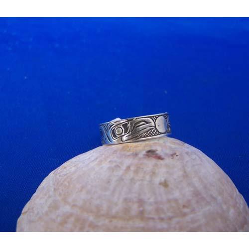 Silver Raven Moon Oxidized Ring by Carmen Goertzen