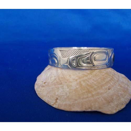 Silver Raven Side View abalone inlay Brace;et bu Carmen Goertzen