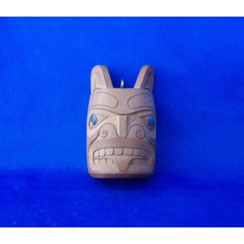 Yew Wood Bear Mask Pendant by Leon Rildey