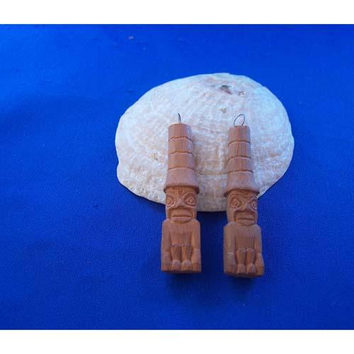 Yew Wood Watchman Earrings by Leon Ridley