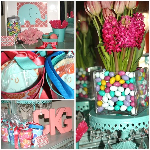 Elephants Coral and Robin's Egg Blue Birthday Party Sarah Sofia Productions