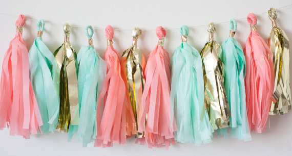 Coral, Mint & Gold Tissue Paper Garland || Sarah Sofia Productions
