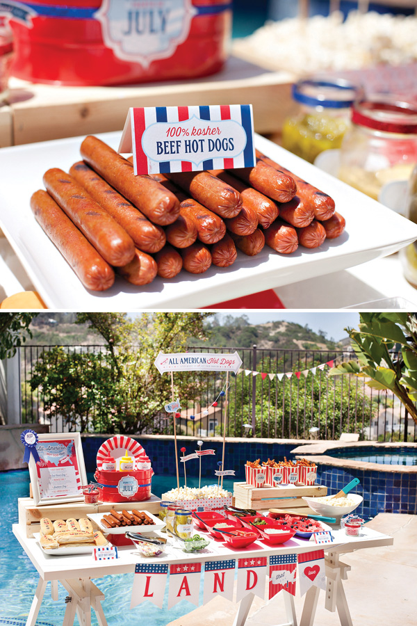 Let's Celebrate Red White and Blue! Hot Dog Bar. Sarah Sofia Productions