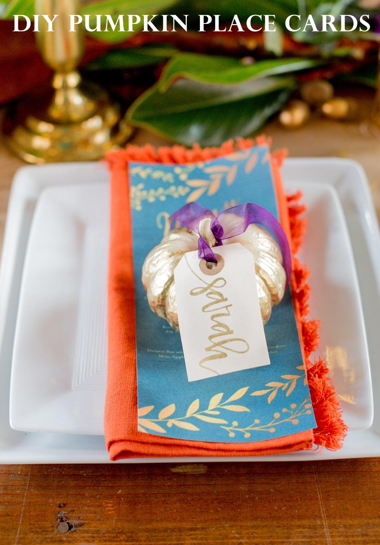 Thanksgiving Inspiration DIY Pumpkin Place Cards Sarah Sofia Productions