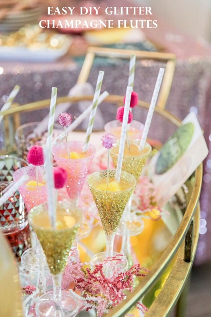 Add a little sparkle and glam to your party, wedding, or bridal shower with these Easy DIY Glitter Champagne Flutes via Sarah Sofia Productions