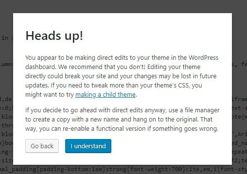 Wordpress Theme Edit Screenshot