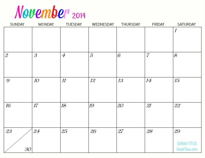 2014 Monthly Calendar Printable