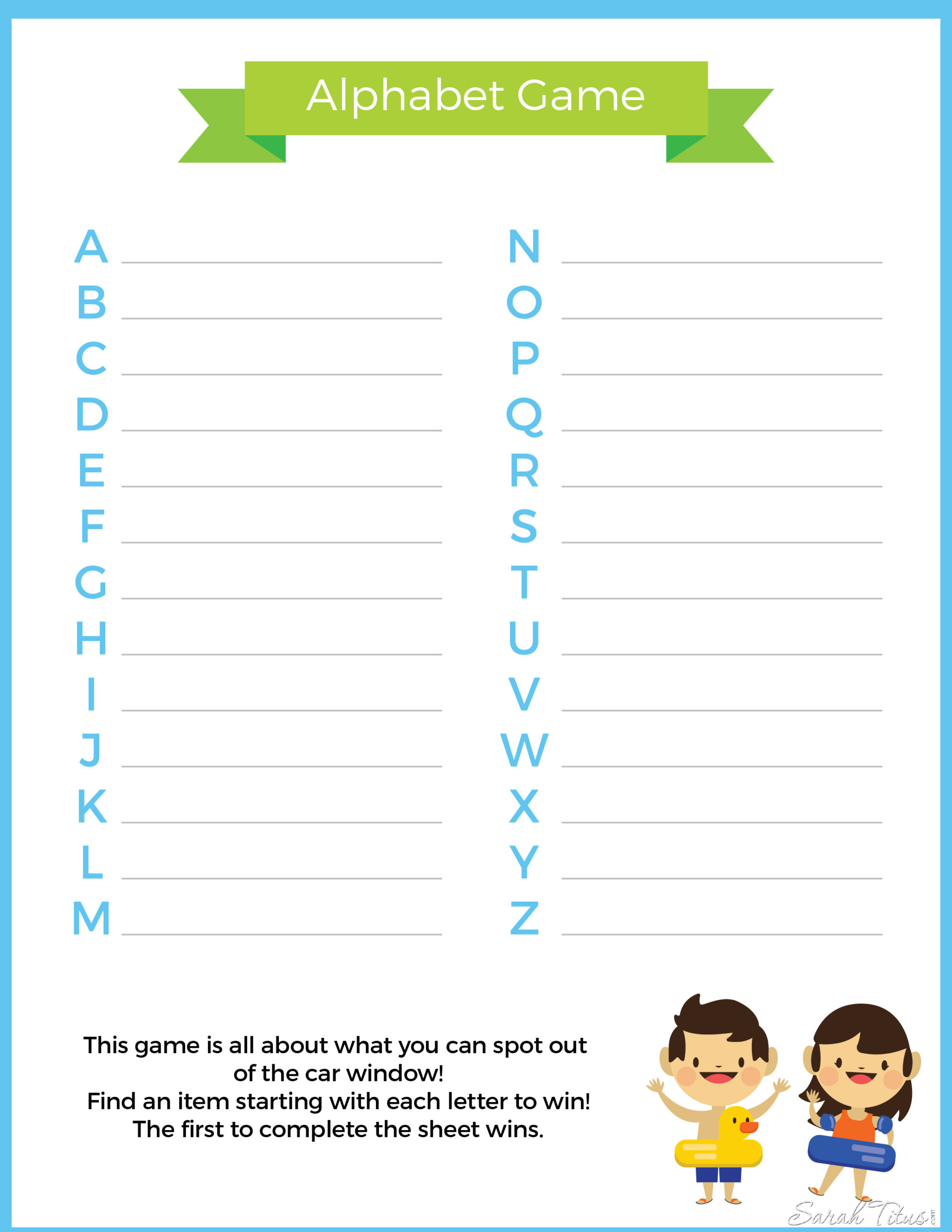 Travel Binder Alphabet Game