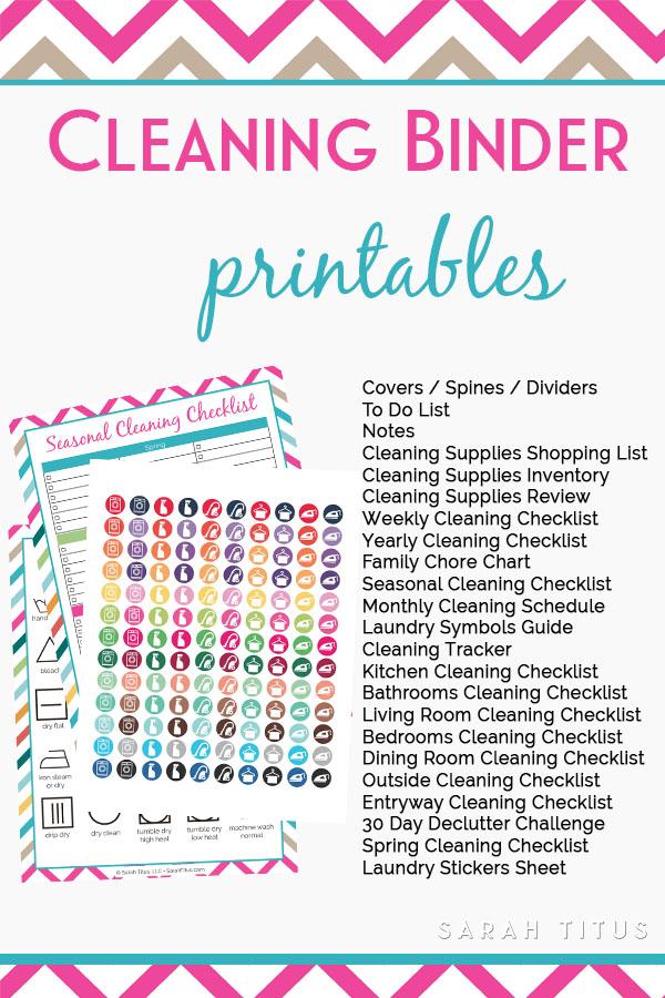 Cleaning Binder Free Printables Sarah Titus