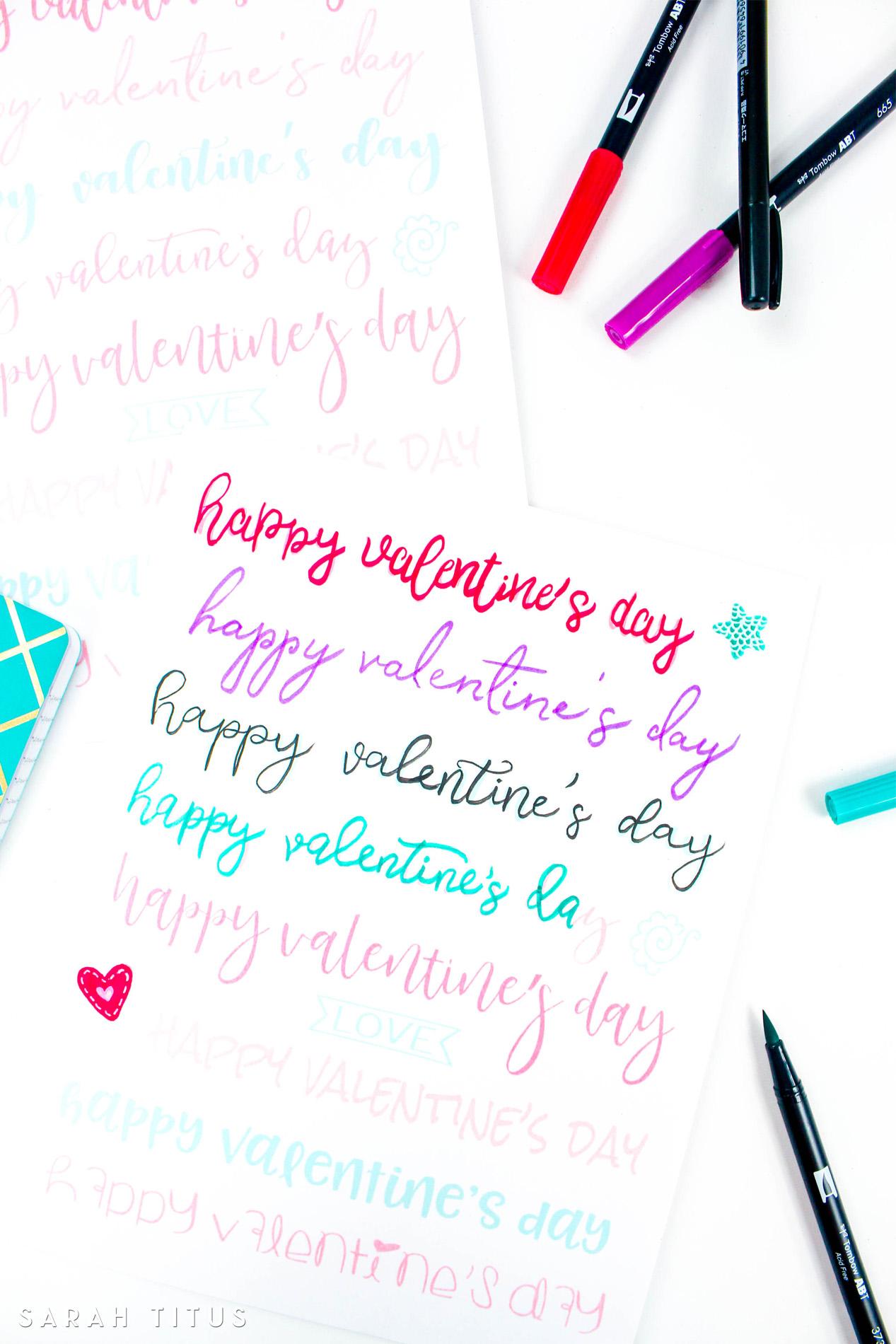 Valentine Free Printable Hand Lettering Worksheet
