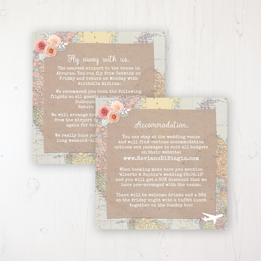 Adventure Wedding Info Insert Card Personalised Front Back