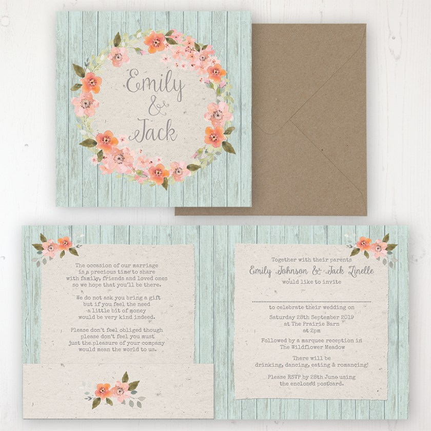 Prairie Peach Wedding Invitation Folded Personalised Front Back With Pocket In Inside Cover