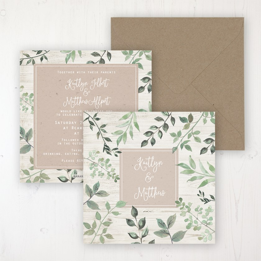 Evergreen Forest Wedding Invitation Flat Personalised Front Back With Rustic Envelope