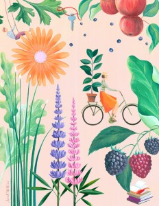 Illustration by Sarah Wilkins - biking in spring
