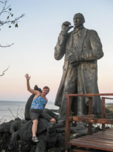 Sara Kurth and Chuck Darwin in the Galapagos