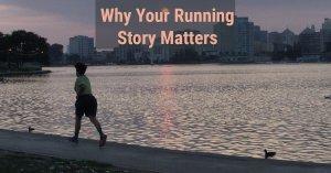 Runner running by a lake