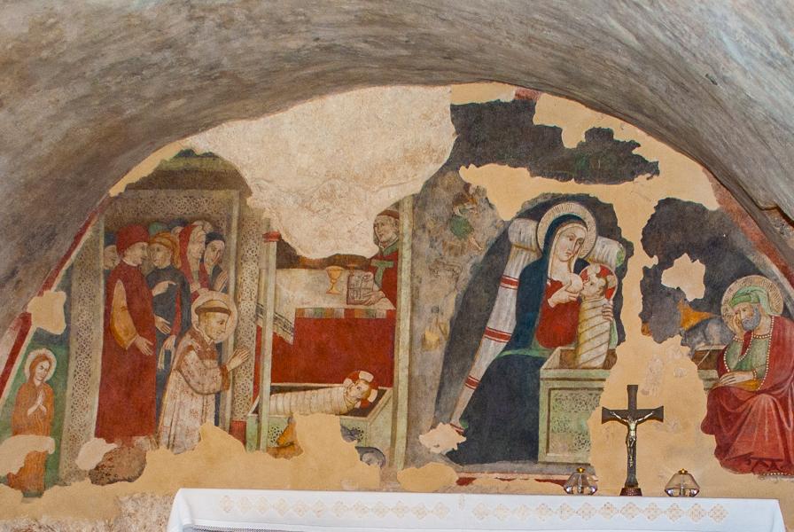Il presepe di Greccio - dipinto scuola giottesca