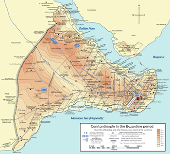 Map of Byzantine Constantinople