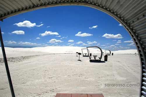 Picnic tables for lunch stops at White Sands National Monument