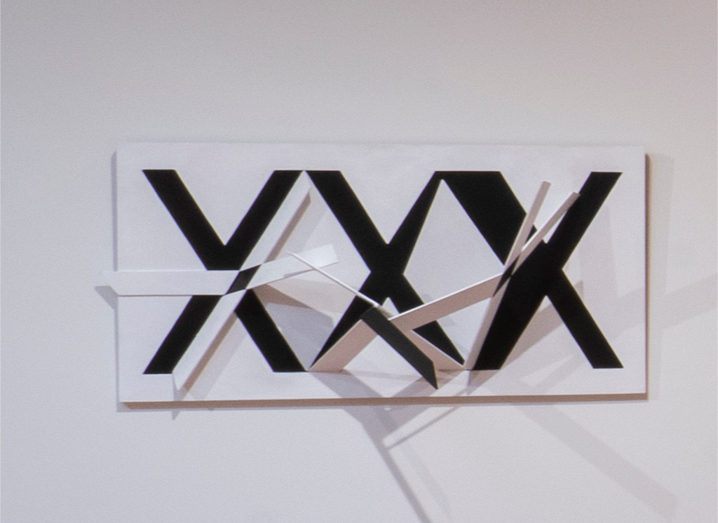 Close up of Robert Barber's XXX Relief Installation (1980s)
