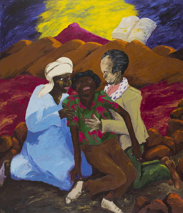 Robert Colescott, An American Rescued in the Desert by The Mahdi and Emperor Haile Selassie, 1986, Acrylic on canvas, © 2021 The Robert H. Colescott Separate Property Trust / Artists Rights Society (ARS), New York, Courtesy of N'Namdi Contemporary Fine Art, Miami