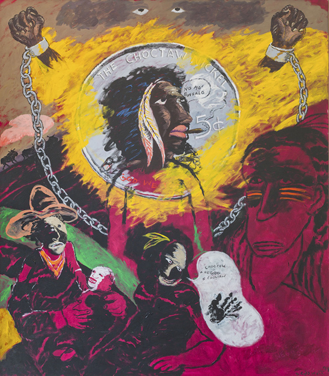 Robert Colescott, Choctaw Nickel, 1994, Liquitex, gel medium on canvas, © 2021 The Robert H. Colescott Separate Property Trust / Artists Rights Society (ARS), New York, Courtesy of The New School Art Collection, NY (Gift of Vera List))