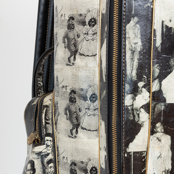 Charles McGill, Lynch Bag, 2007, Golf bag collage, 40 x 17 x 21 in., Collection of Robert Rubin, New York